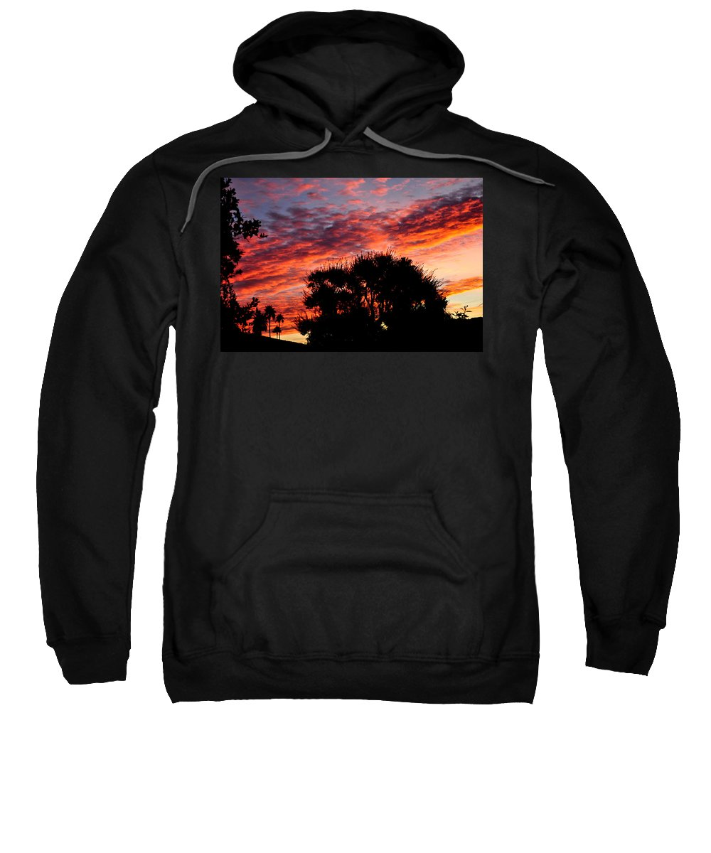 Red Sweatshirt featuring the photograph Bloody Sunset Over Palm Desert by Jay Milo
