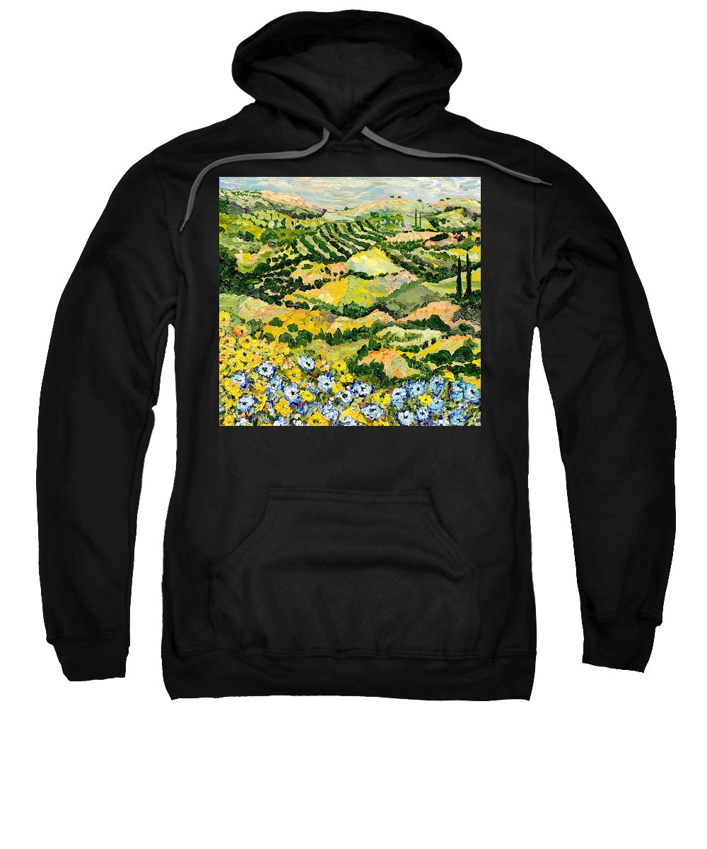 Landscape Sweatshirt featuring the painting Blue And Yellow by Allan P Friedlander
