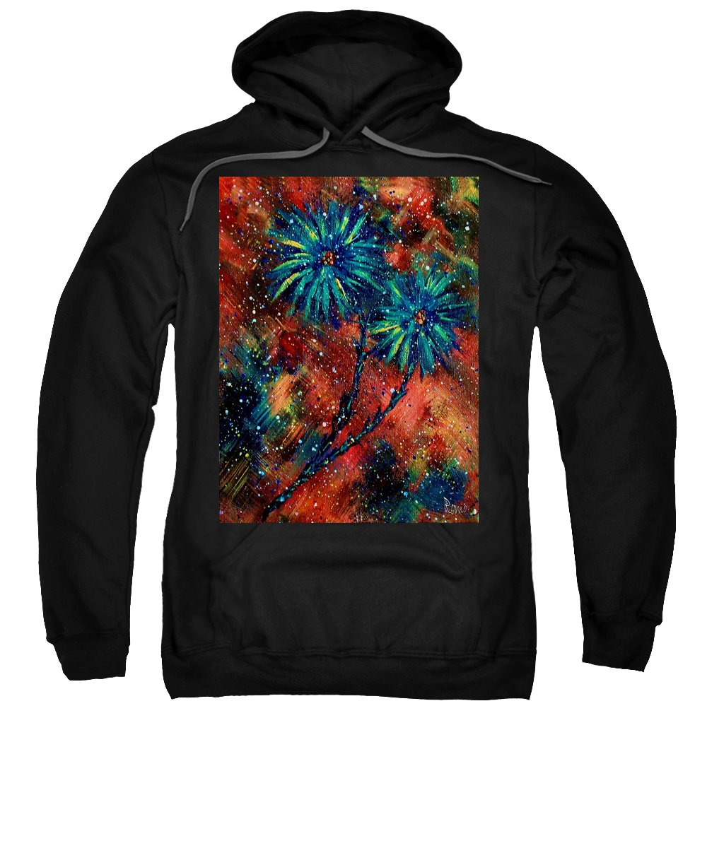 Flowers Sweatshirt featuring the painting Blue Asters by Robin Monroe