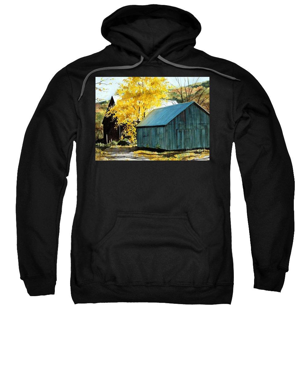 Blue Barn Sweatshirt featuring the painting Blue Barn by Barbara Jewell