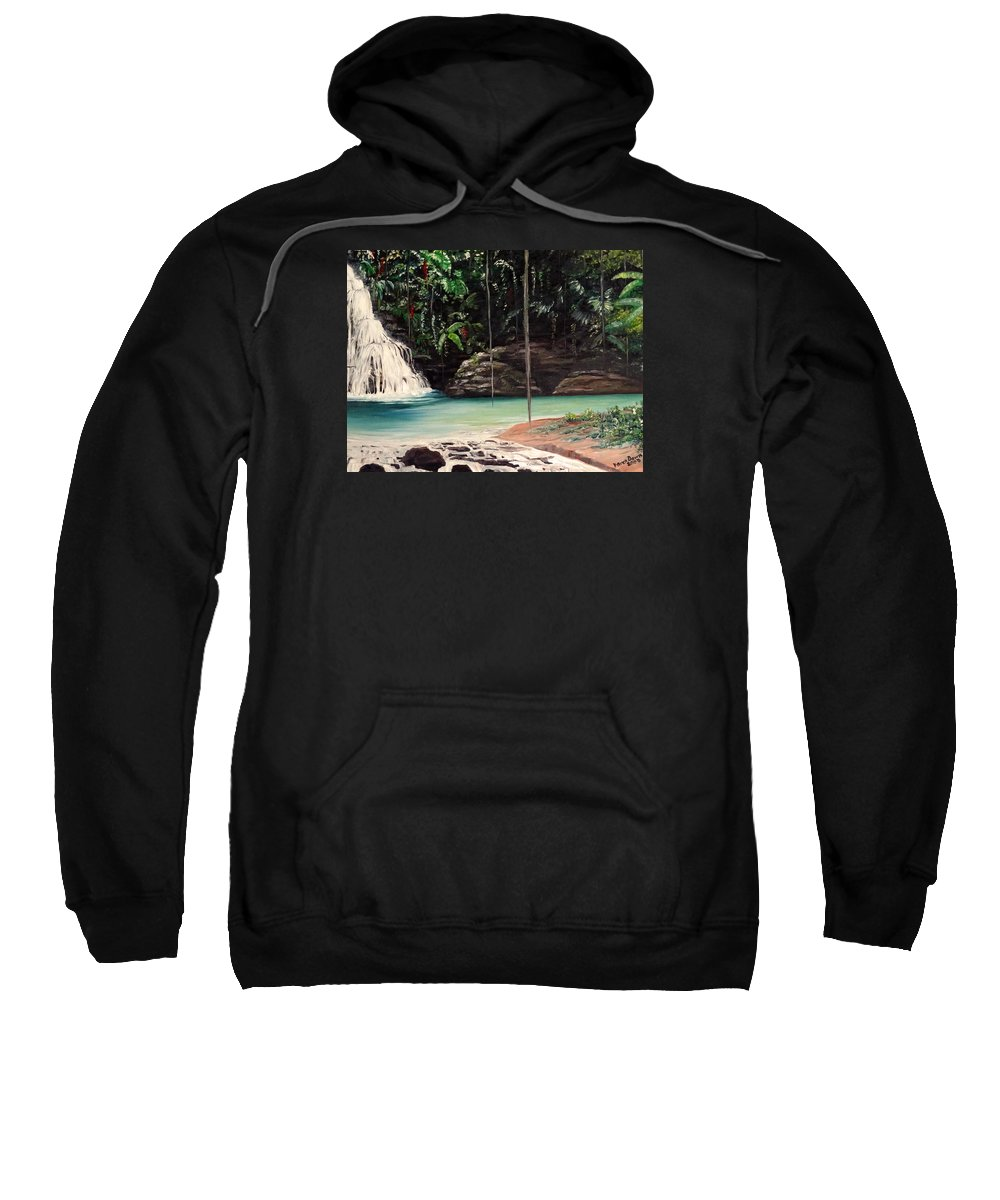 Tropical Waterfall Sweatshirt featuring the painting Blue Basin by Karin Dawn Kelshall- Best