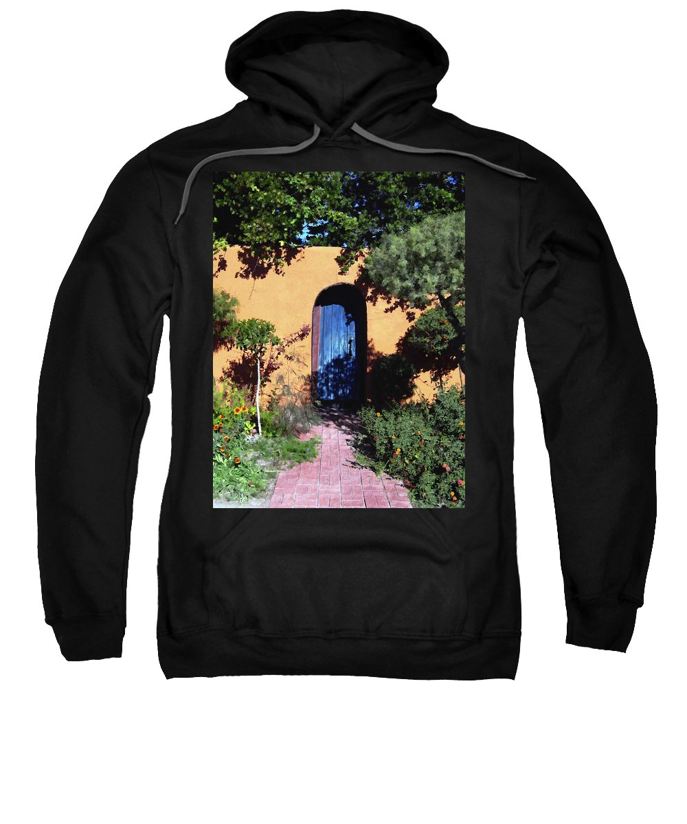 Blue Door Sweatshirt featuring the photograph Blue Door At Old Mesilla by Kurt Van Wagner