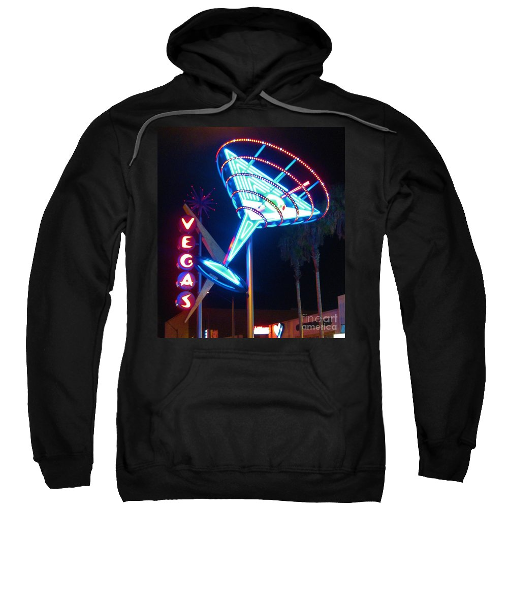 Las Vegas Sweatshirt featuring the photograph Blue Martini Glass Las Vegas by John Malone