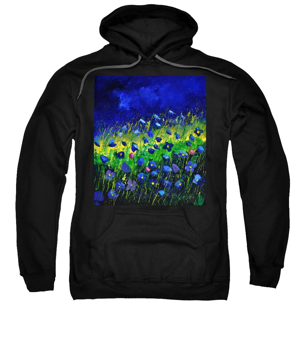 Landscape Sweatshirt featuring the painting Blue poppies 674190 by Pol Ledent