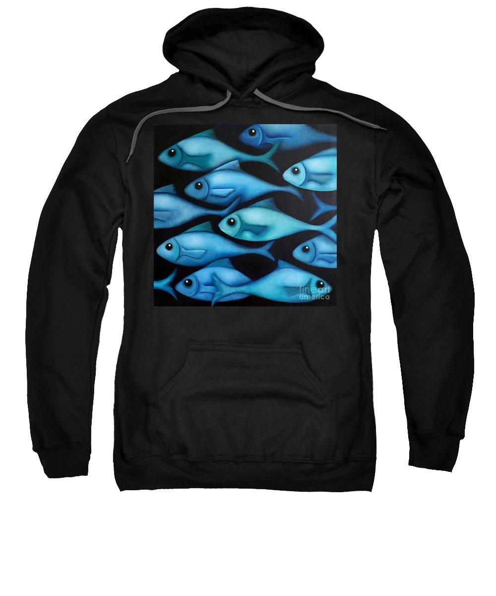 Fish Sweatshirt featuring the painting Blue School 2 by Georgie Greene