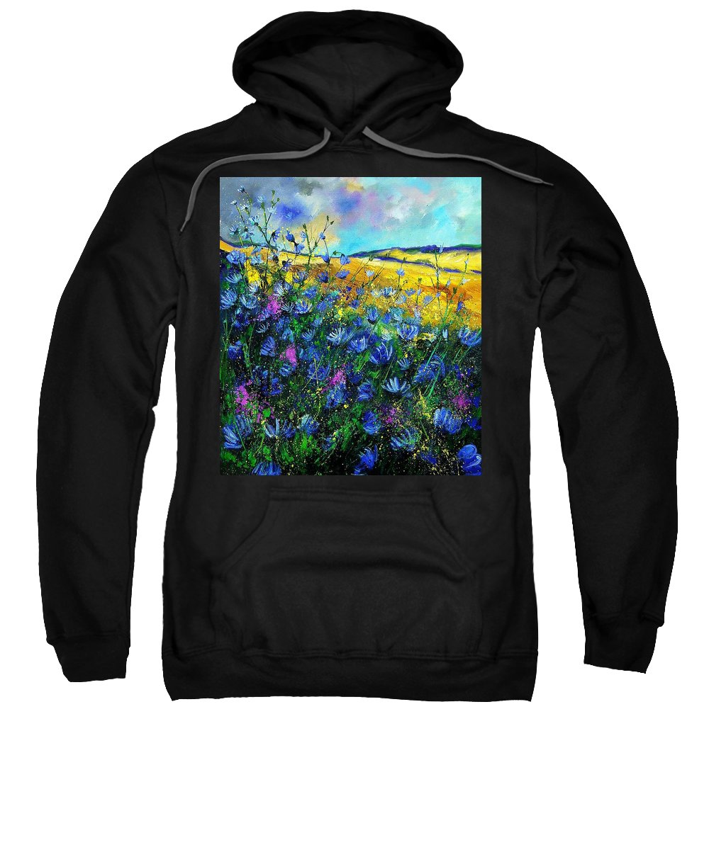 Flowers Sweatshirt featuring the painting Blue Wild Chicorees by Pol Ledent