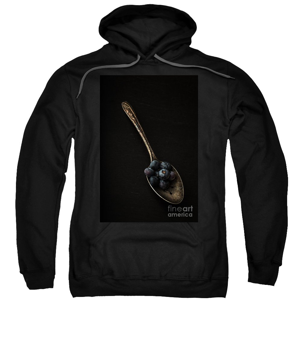 Blueberries Sweatshirt featuring the photograph Blueberries On Silver Spoon by Edward Fielding