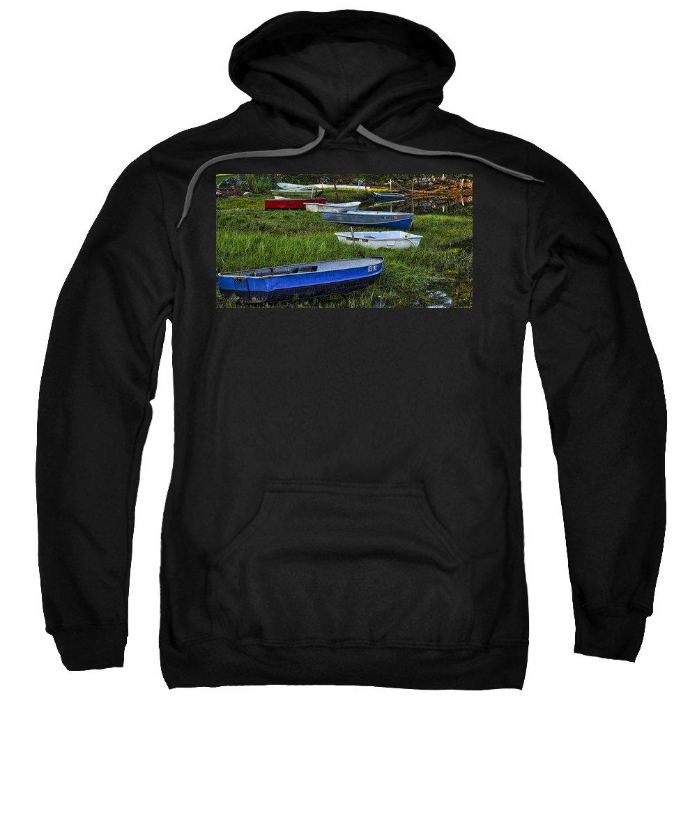 Cape Neddick Sweatshirt featuring the photograph Boats In Marsh - Cape Neddick - Maine by Steven Ralser