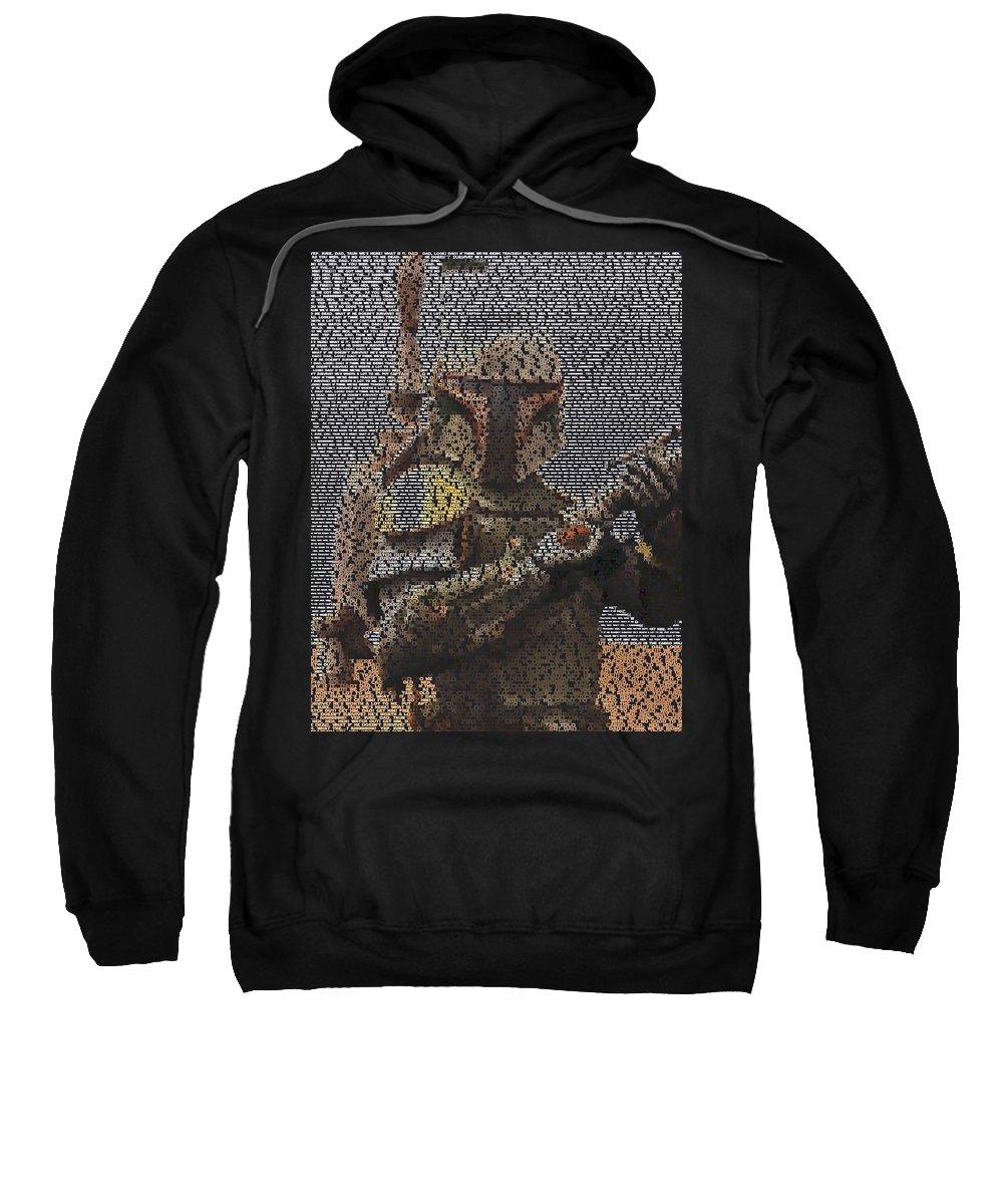 Star Wars Sweatshirt featuring the digital art Boba Fett Quotes Mosaic by Paul Van Scott
