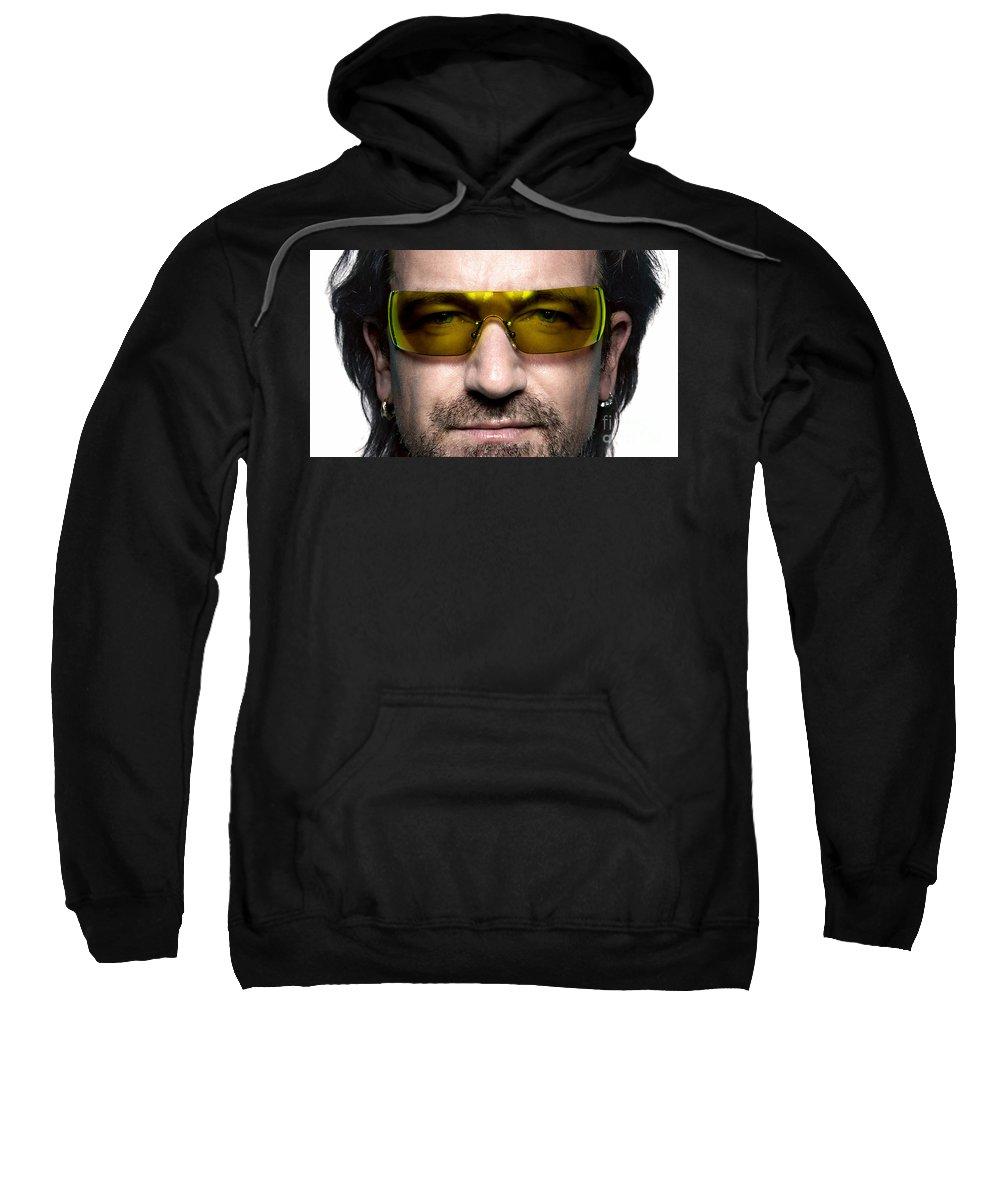 U2 Photographs Mixed Media Sweatshirt featuring the mixed media Bono by Marvin Blaine