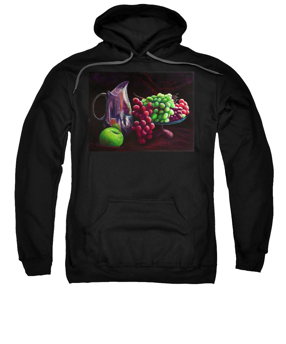 Silver Pitcher Sweatshirt featuring the painting Bottle of Red Bottle of White by Shannon Grissom
