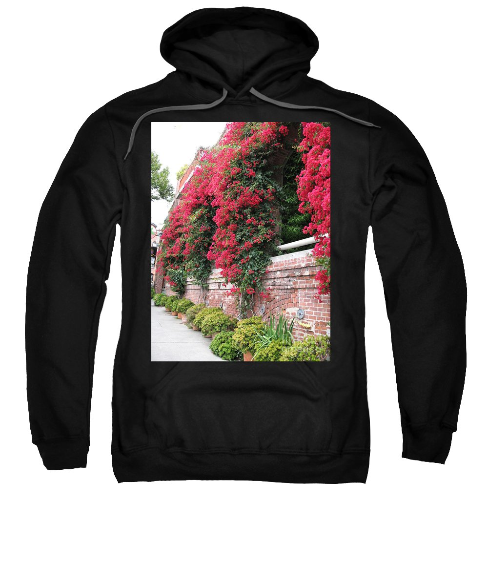 San Francisco Sweatshirt featuring the photograph Bougainvillea Wall In San Francisco by Christiane Schulze Art And Photography