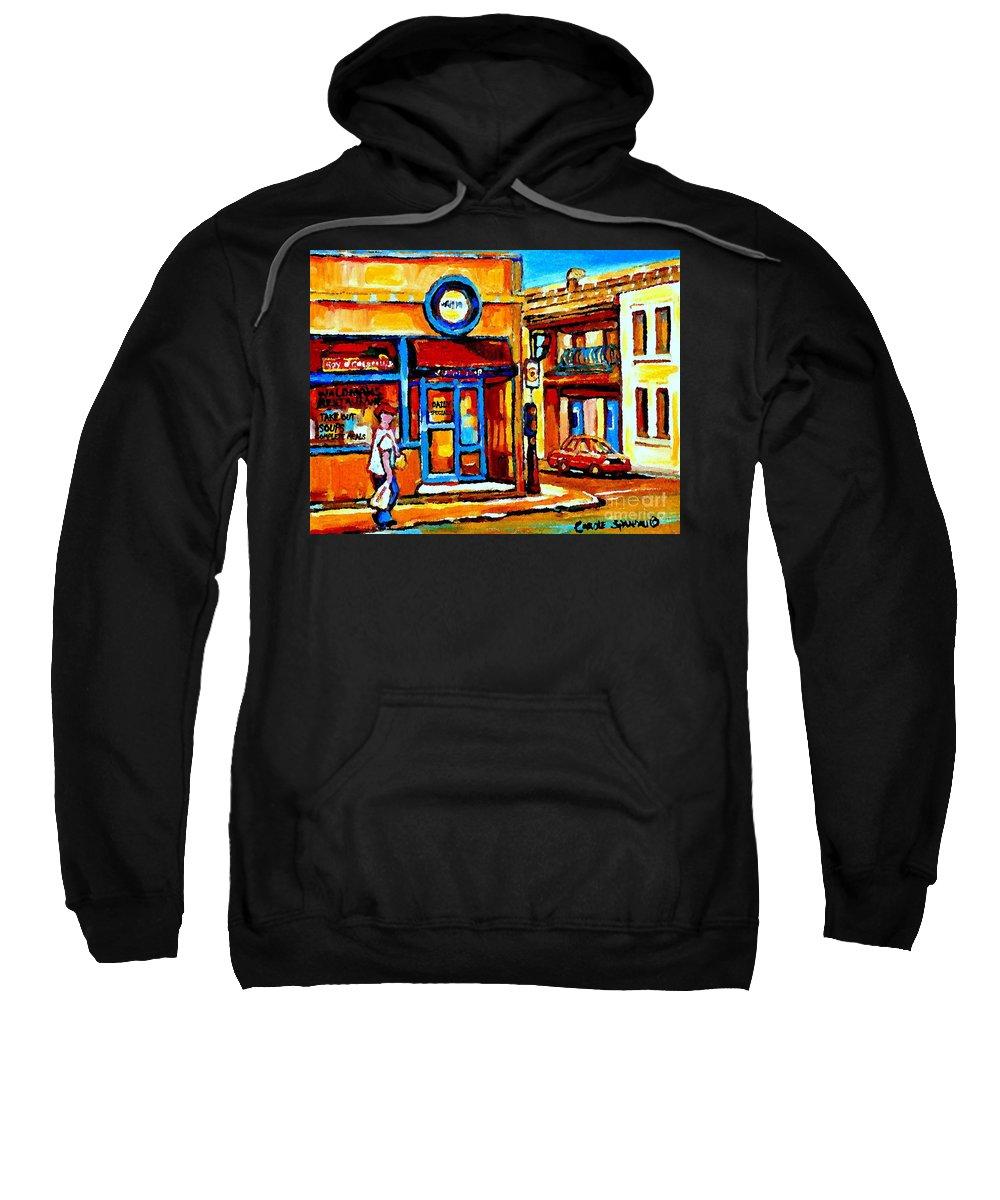 Montreal Fruit Store Sweatshirt featuring the painting Boy With Steinbergs Bag Near Waldmans Market Paintings Colonial St Vintage Montreal Art C Spandau by Carole Spandau