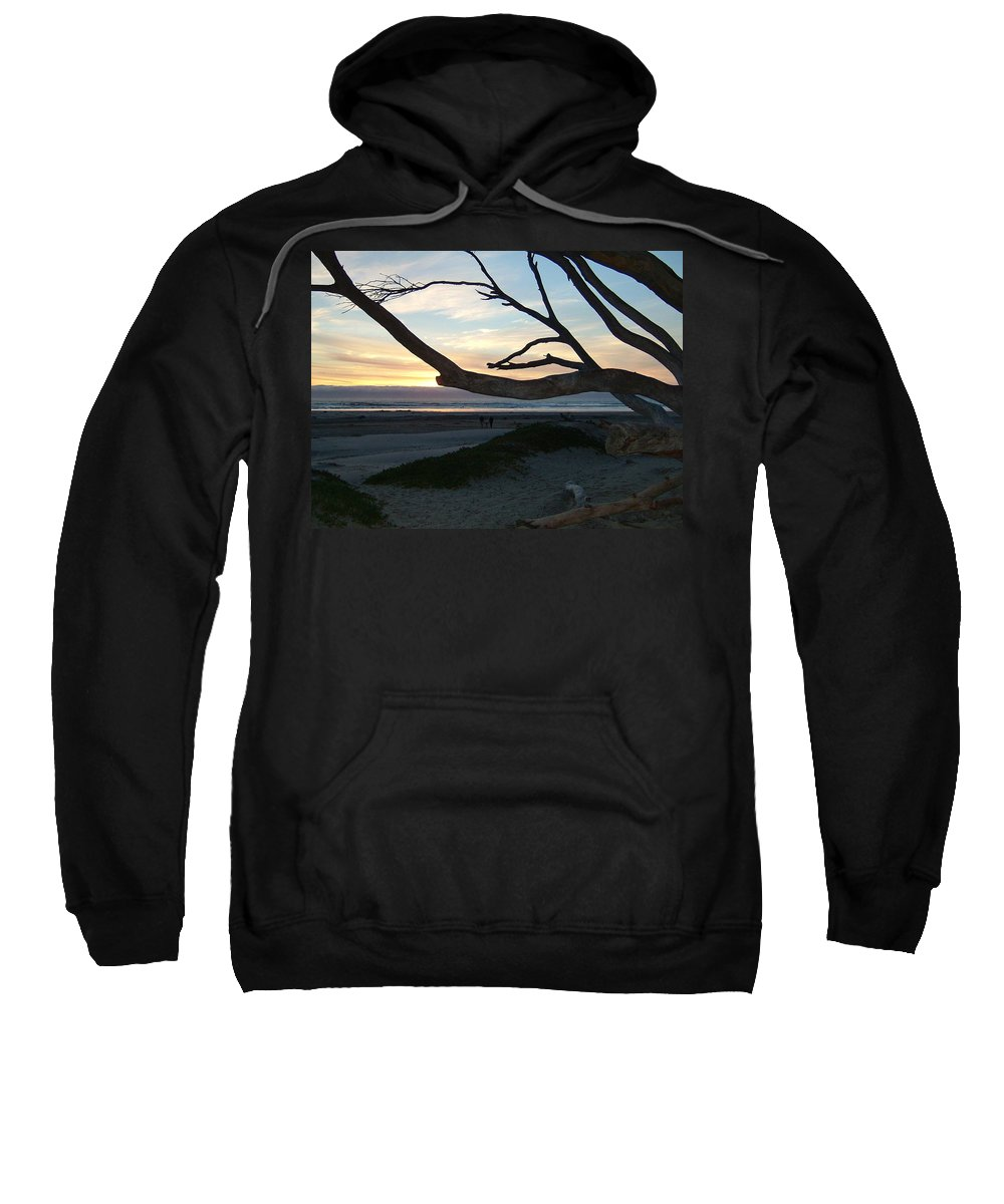 Dark Sweatshirt featuring the photograph Branches Over The Beach by Susan Wyman