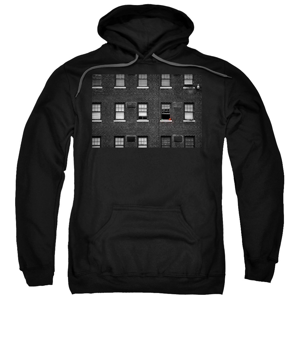 Architecture Sweatshirt featuring the photograph Brick Wall And Windows by Jim Shackett