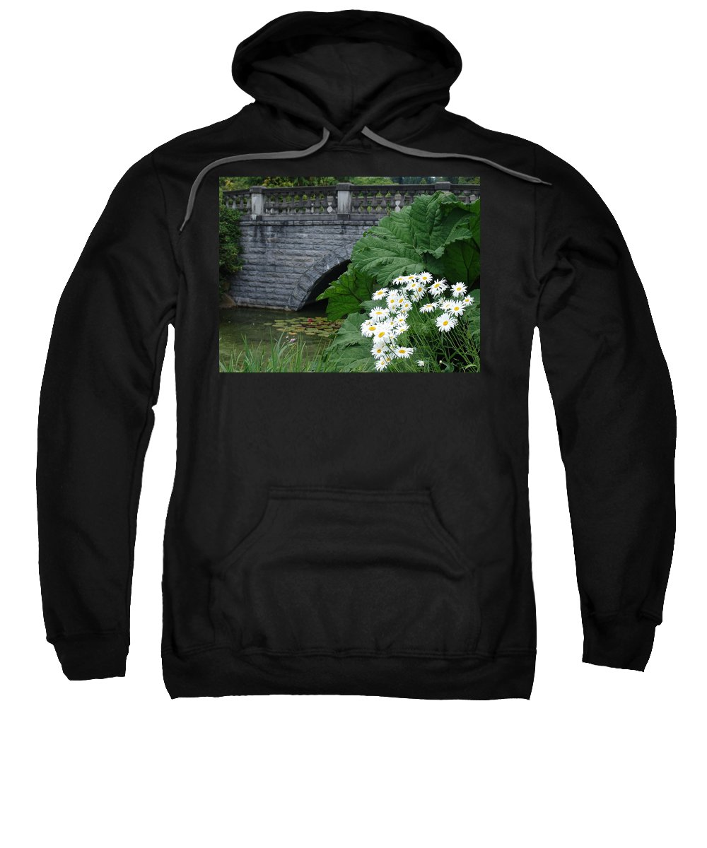 Bridge Sweatshirt featuring the photograph Stone Bridge Daisies by Ian Mcadie