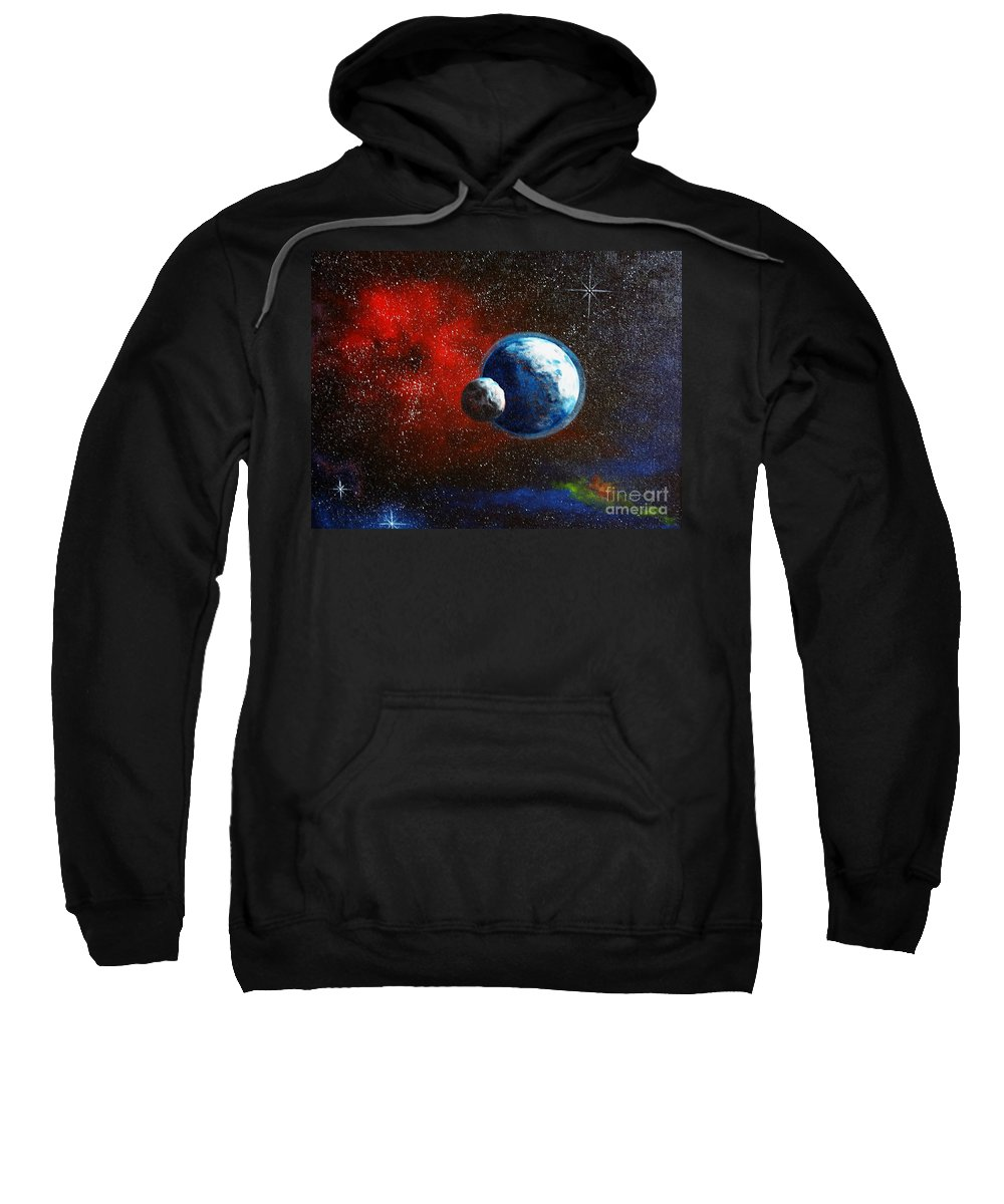 Astro Sweatshirt featuring the painting Broken Moon by Murphy Elliott