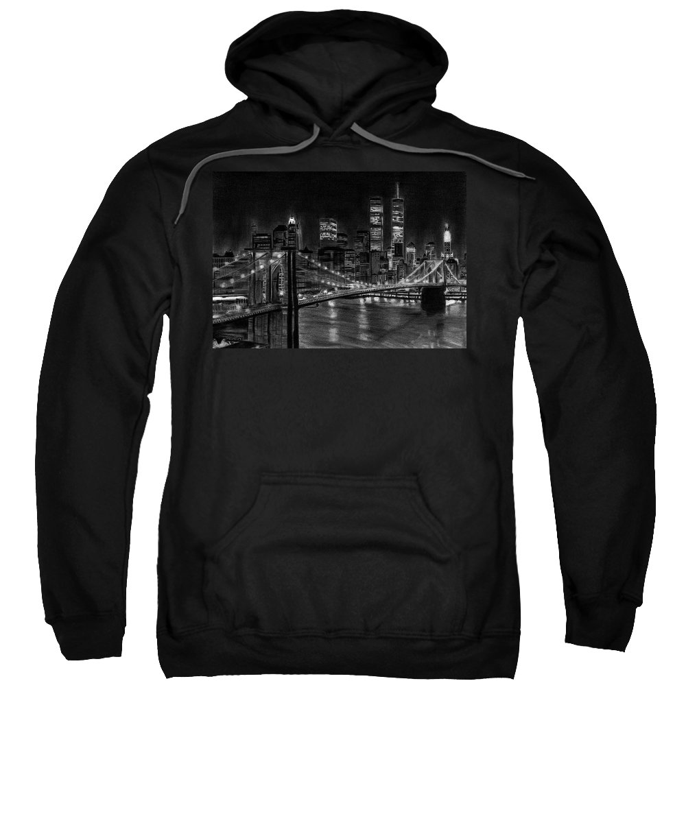 Brooklyn Bridge Sweatshirt featuring the drawing Brooklyn Bridge New York by David Rives