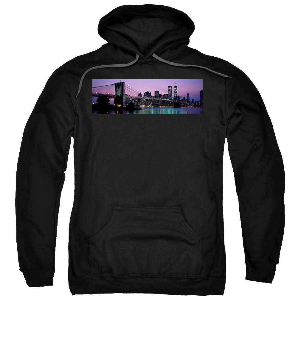Photography Sweatshirt featuring the photograph Brooklyn Bridge New York Ny Usa by Panoramic Images