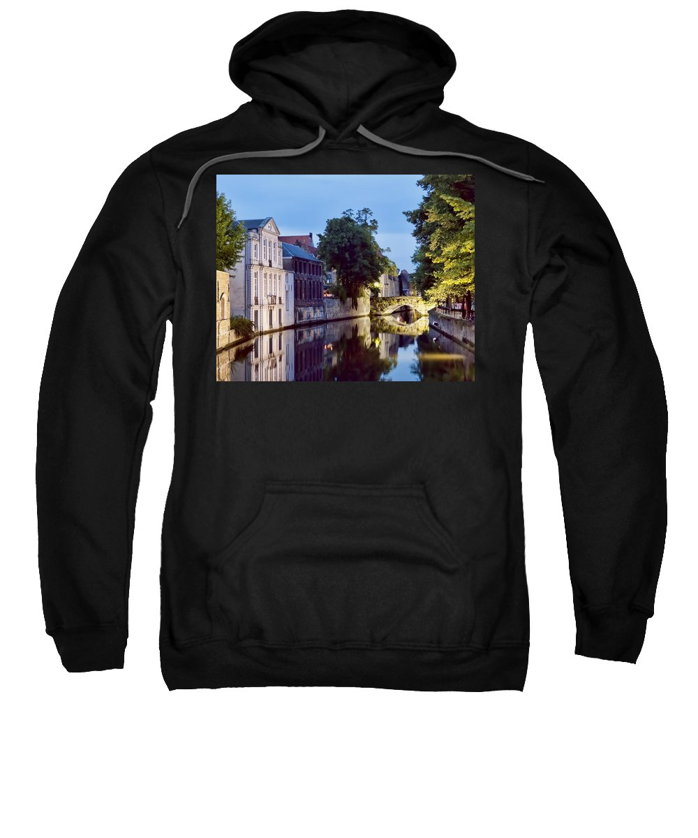 Bruges Canal Bridge Sweatshirt featuring the photograph Brudges Canal Bridge by Phyllis Taylor