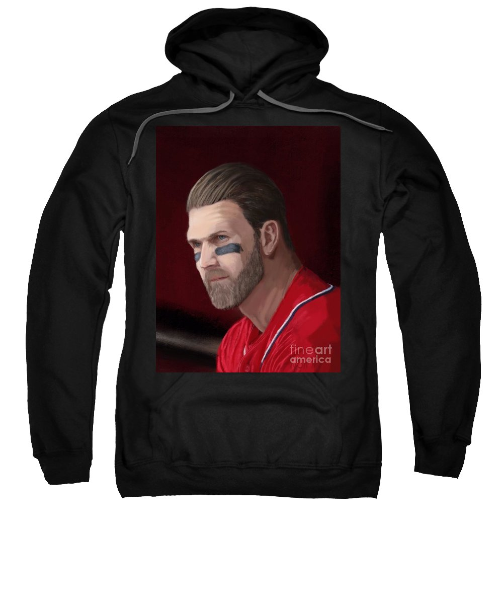 Bryce Harper Sweatshirt featuring the painting Bryce Harper by Jeremy Nash
