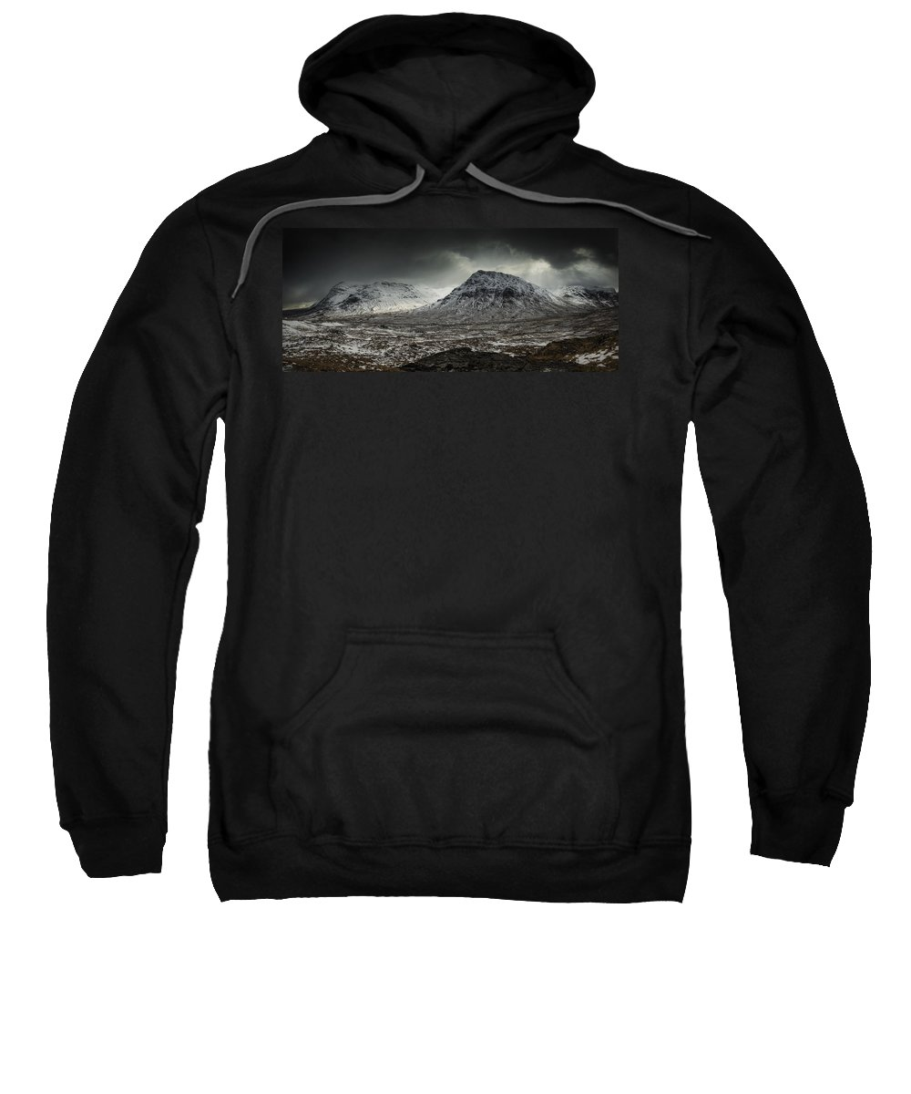 Glencoe Sweatshirt featuring the photograph Buachialle Etive Mor Winter Mood by Nigel Forster