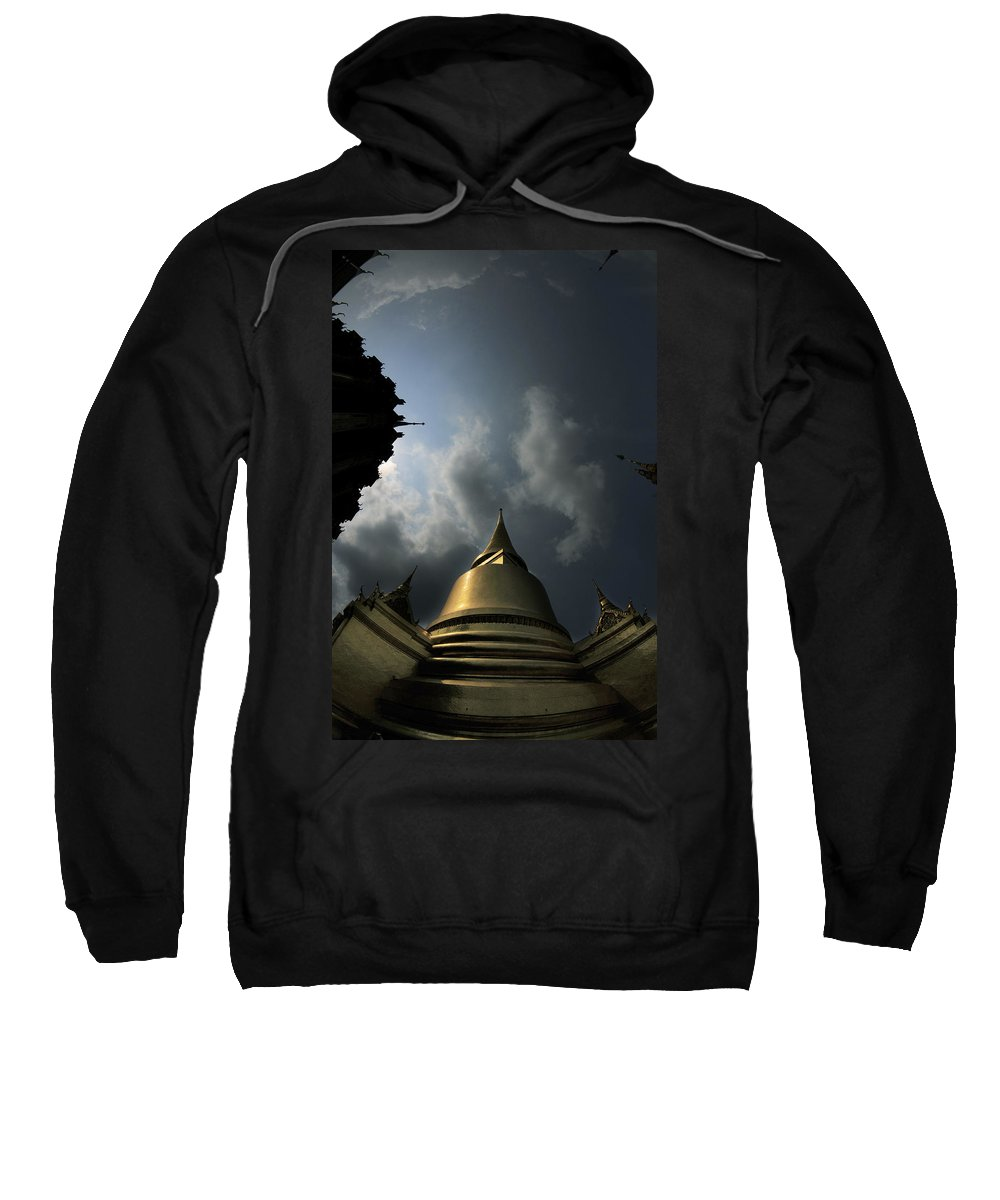 Buddhist Sweatshirt featuring the photograph Budhist Temple In Bangkok Thailand by Dray Van Beeck