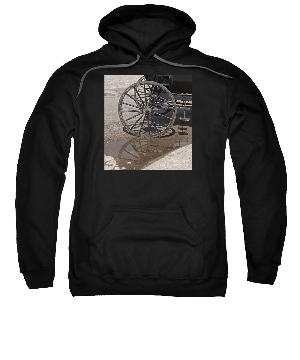Amish Sweatshirt featuring the photograph Buggy Wheels by Ann Horn