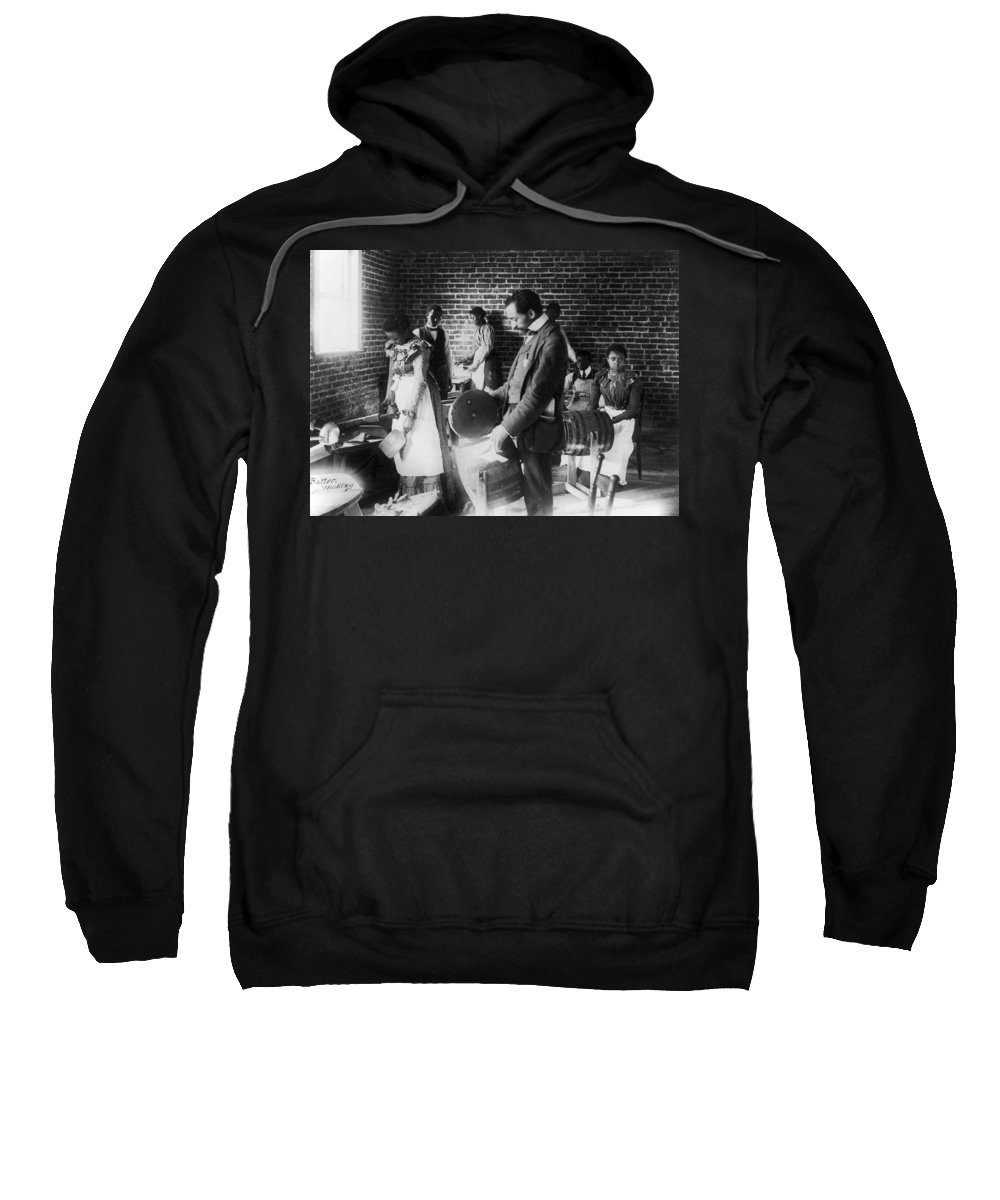 1899 Sweatshirt featuring the photograph Butter Making, C1899 by Granger