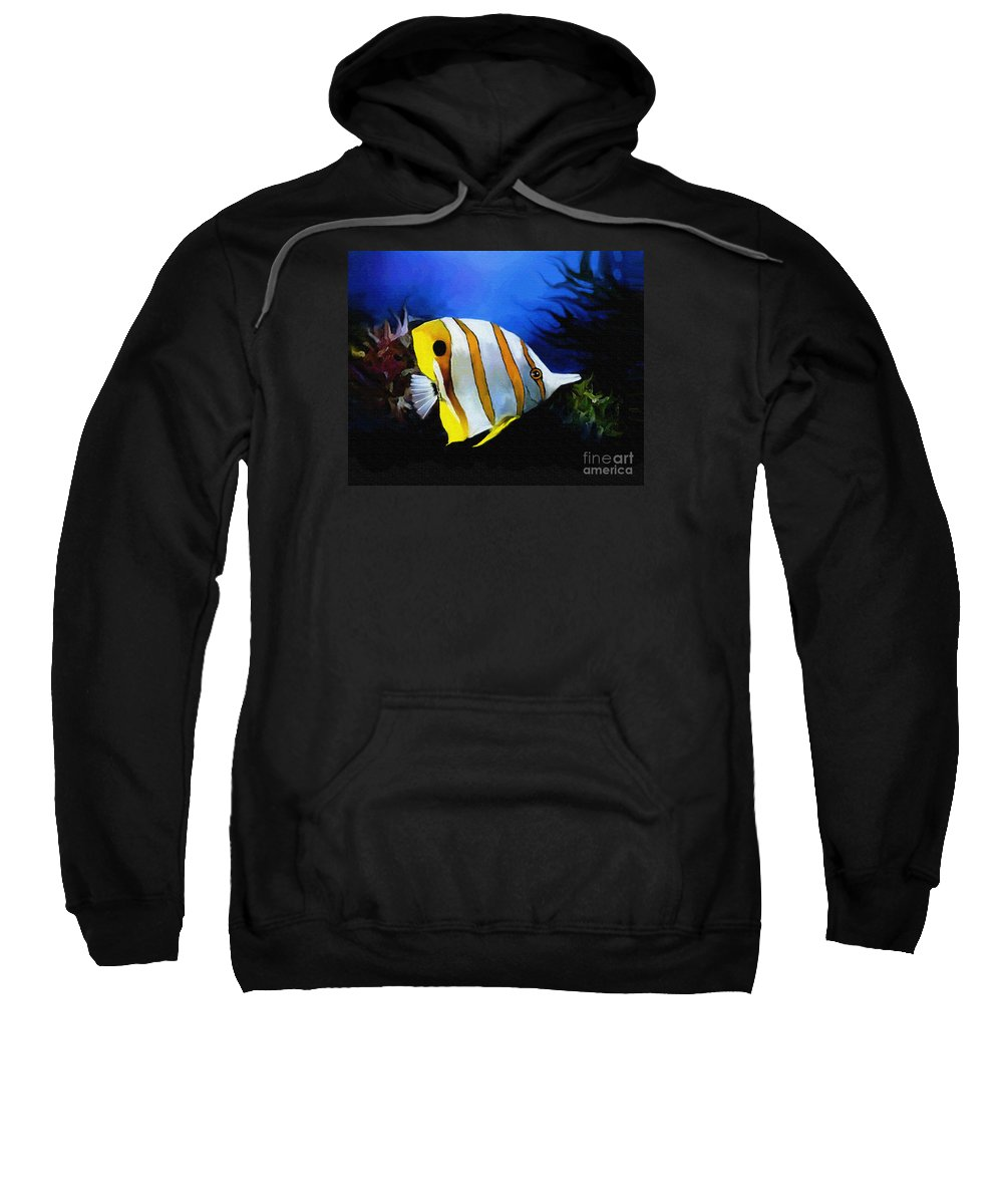 Butterfly Fish Sweatshirt featuring the painting Butterfly 3 by Robert Foster