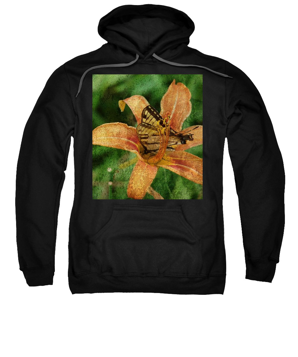 Butterfly Sweatshirt featuring the digital art Butterfly And Lily by Cassie Peters