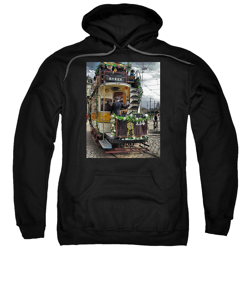 Age Of Steam Sweatshirt featuring the photograph Byker Tram In Colour by John Lynch