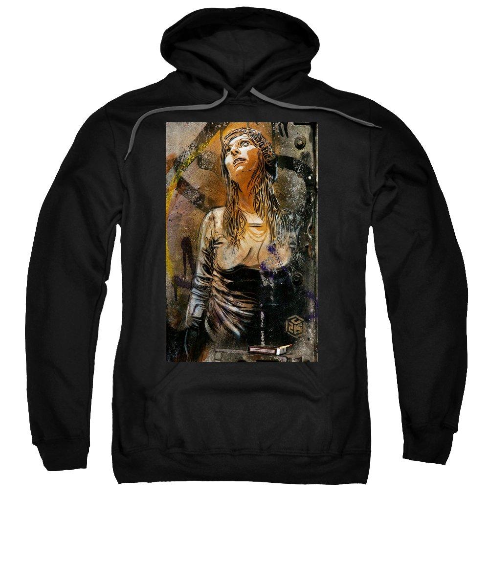 London Street Art Sweatshirt featuring the photograph C215 Beautiful Model by David Resnikoff