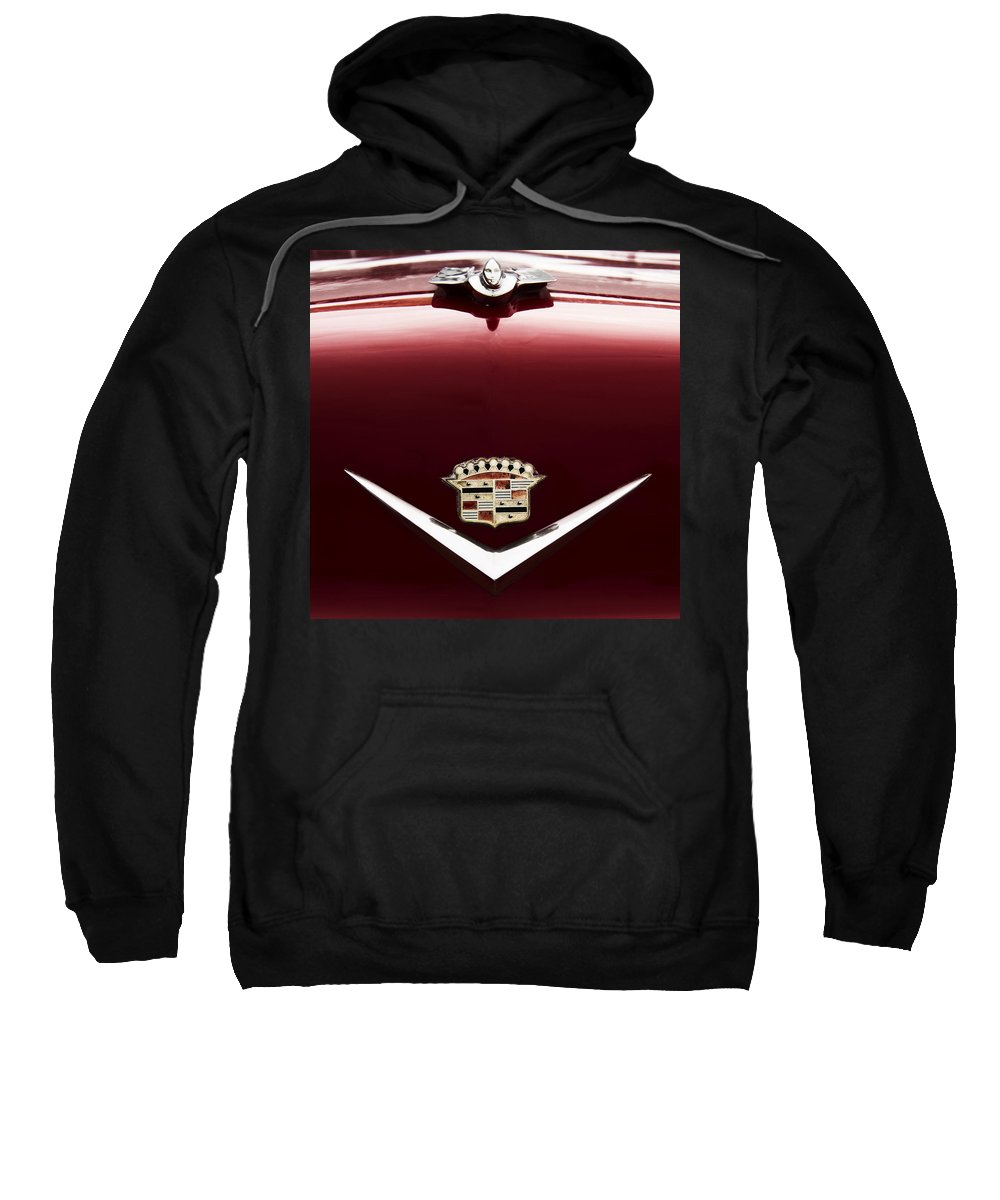 1955 Cadillac Sweatshirt featuring the photograph Cadillac Emblem And Hood Ornament by Debby Richards