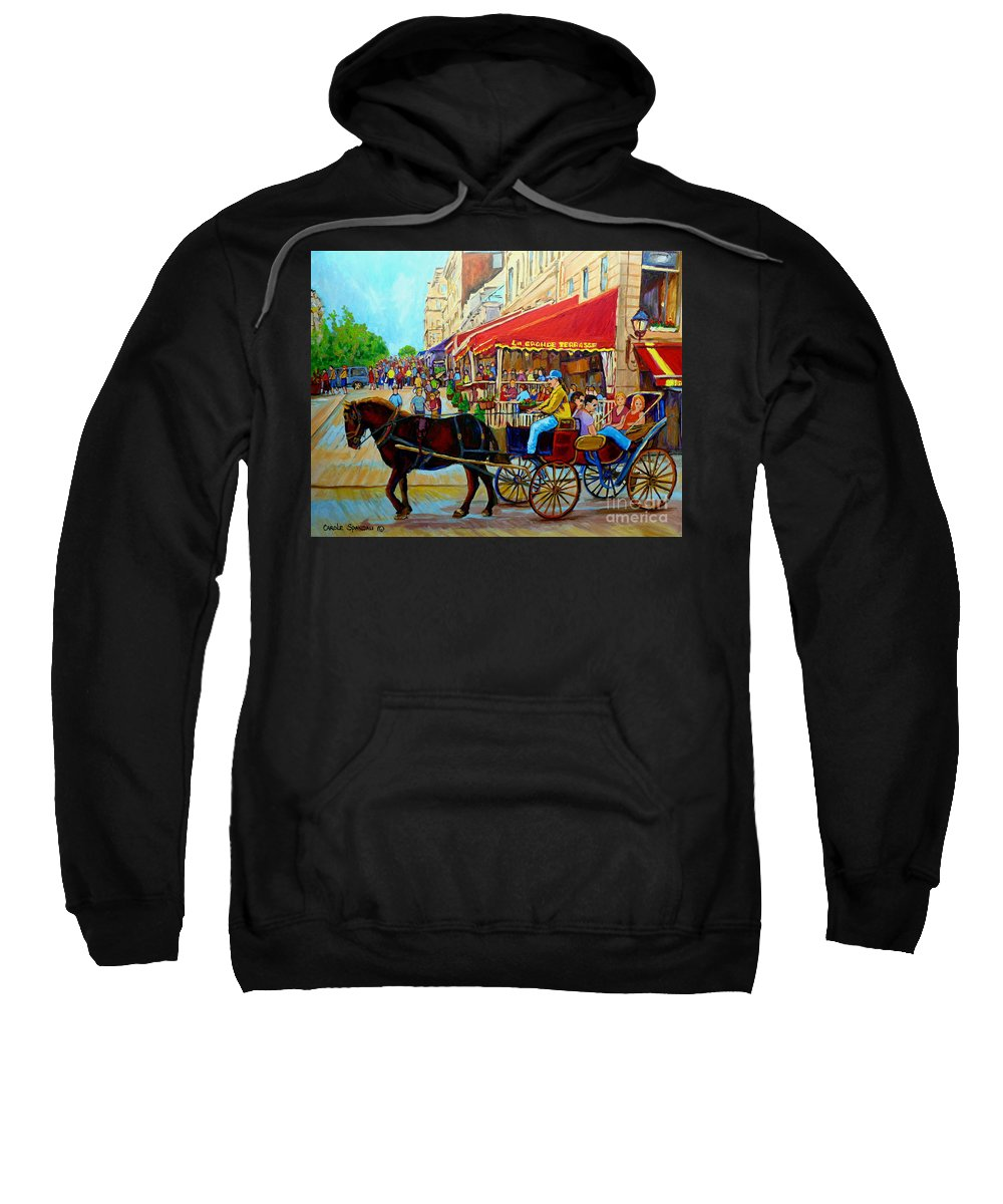 Cafe La Grande Terrasse Sweatshirt featuring the painting Cafe La Grande Terrasse by Carole Spandau