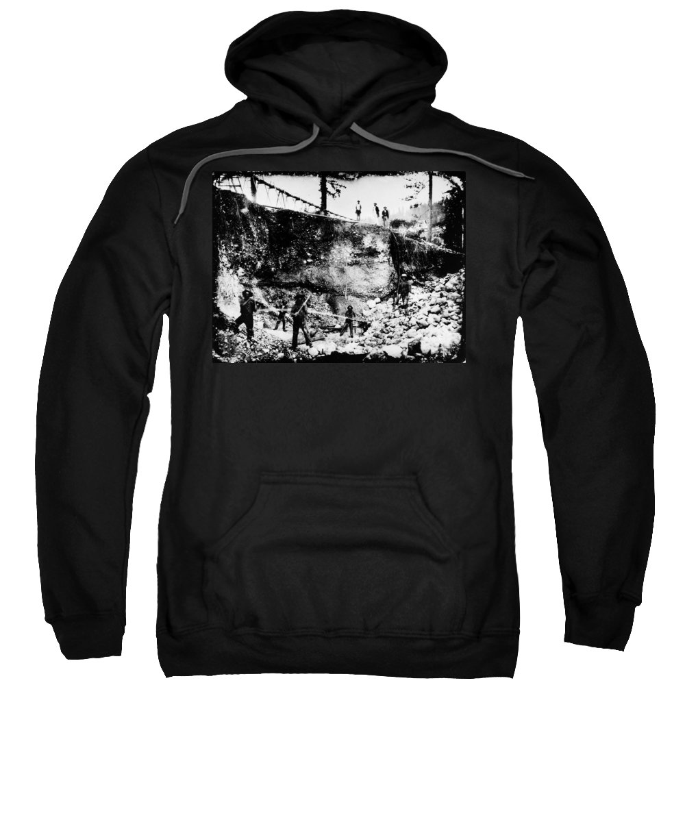 1850s Sweatshirt featuring the photograph California: Mining, 1850s by Granger