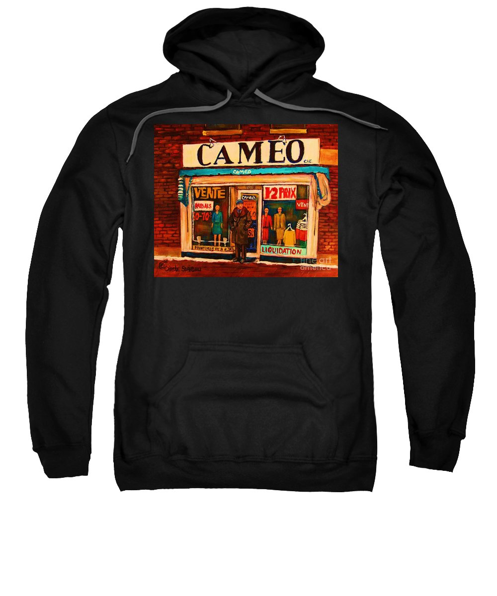 Cameo Dress Shop Sweatshirt featuring the painting Cameo Dress Shop by Carole Spandau