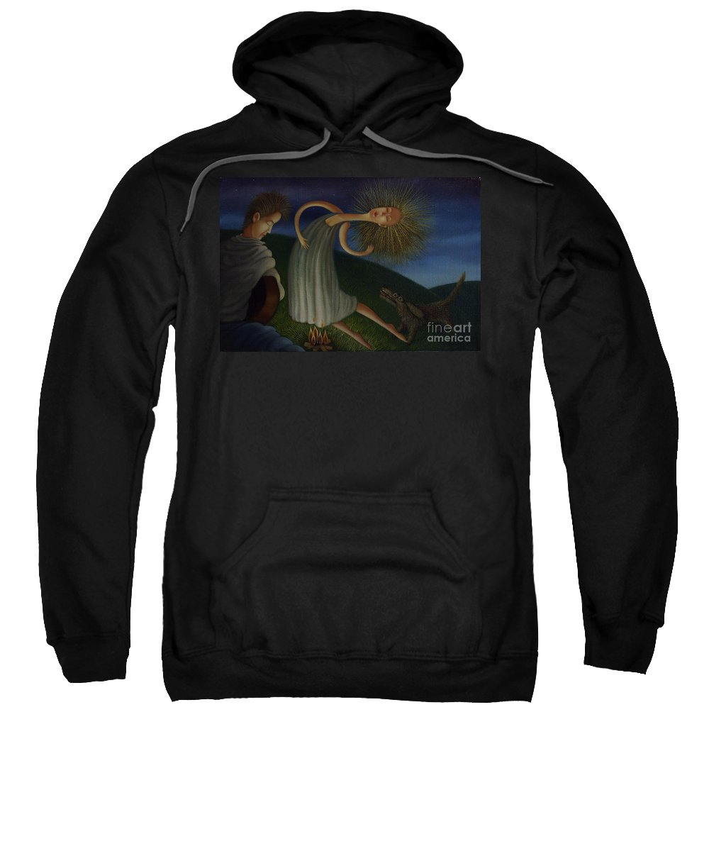 Music Sweatshirt featuring the painting Campfire Serenade 2001 by Lawrence Preston
