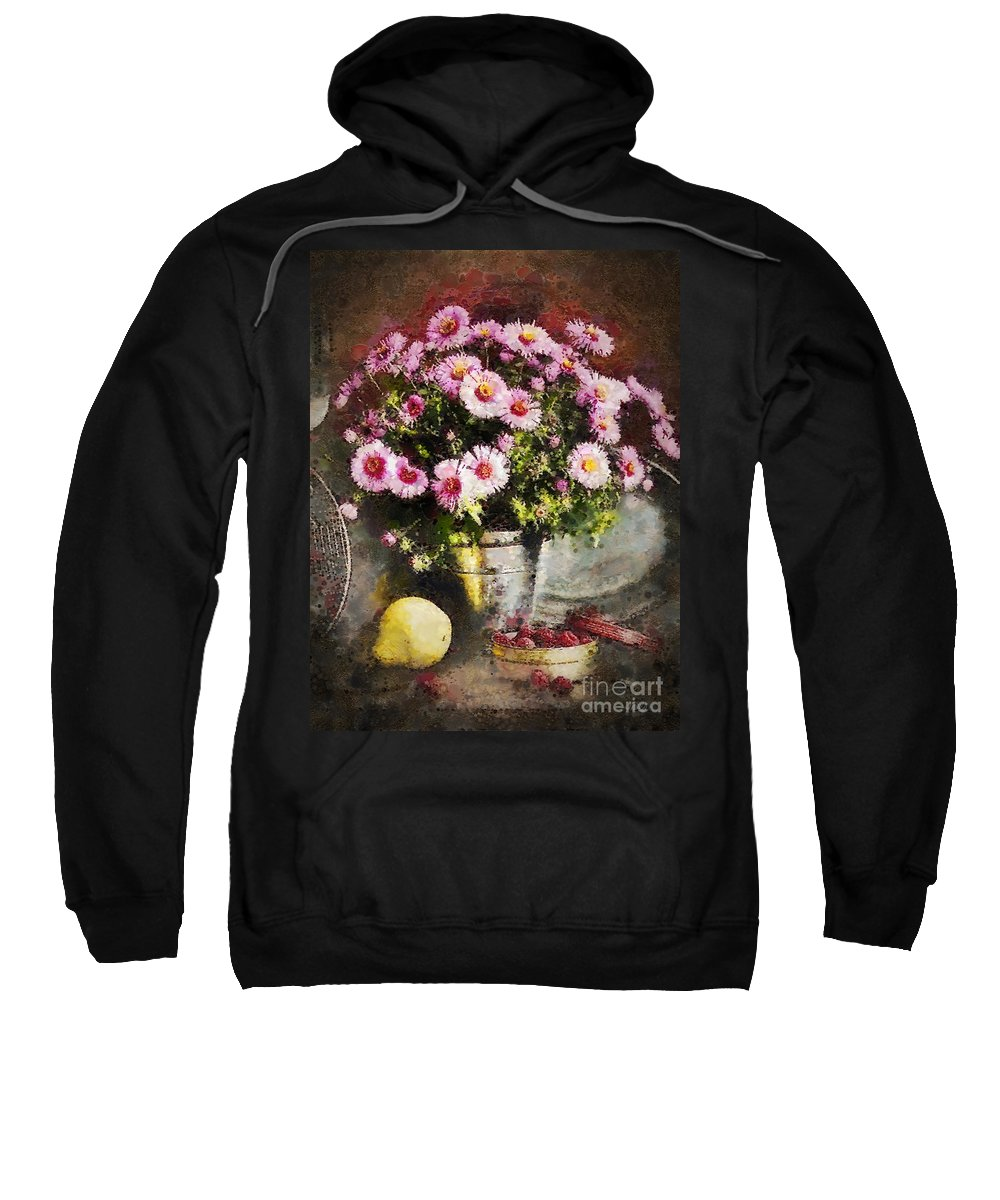 Can Of Raspberries Sweatshirt featuring the painting Can Of Raspberries by Mo T