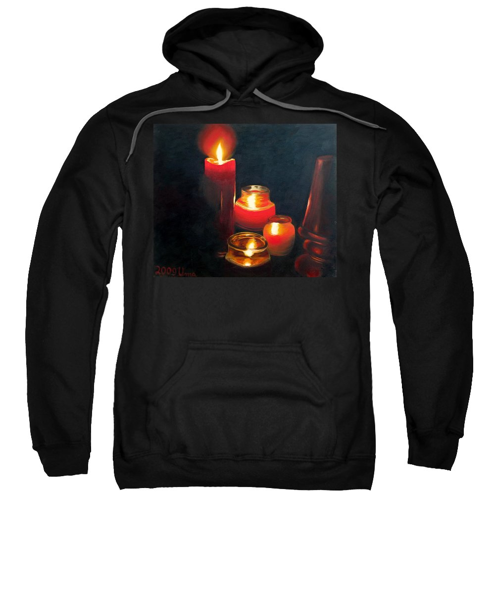 Candles And Lamp Sweatshirt featuring the painting Candles And Lamp by Uma Krishnamoorthy