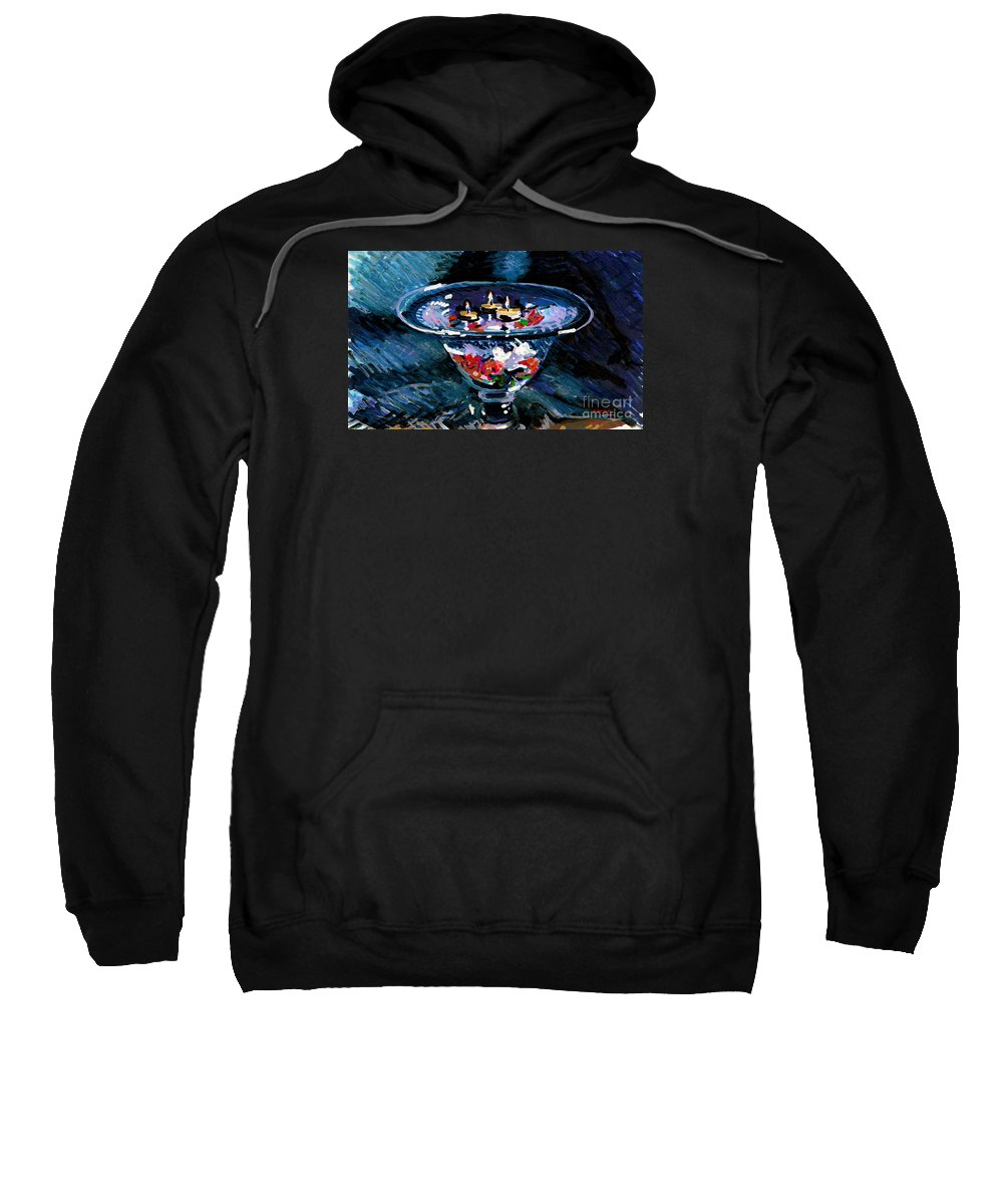 Candles Sweatshirt featuring the painting Candles In Water by Candace Lovely
