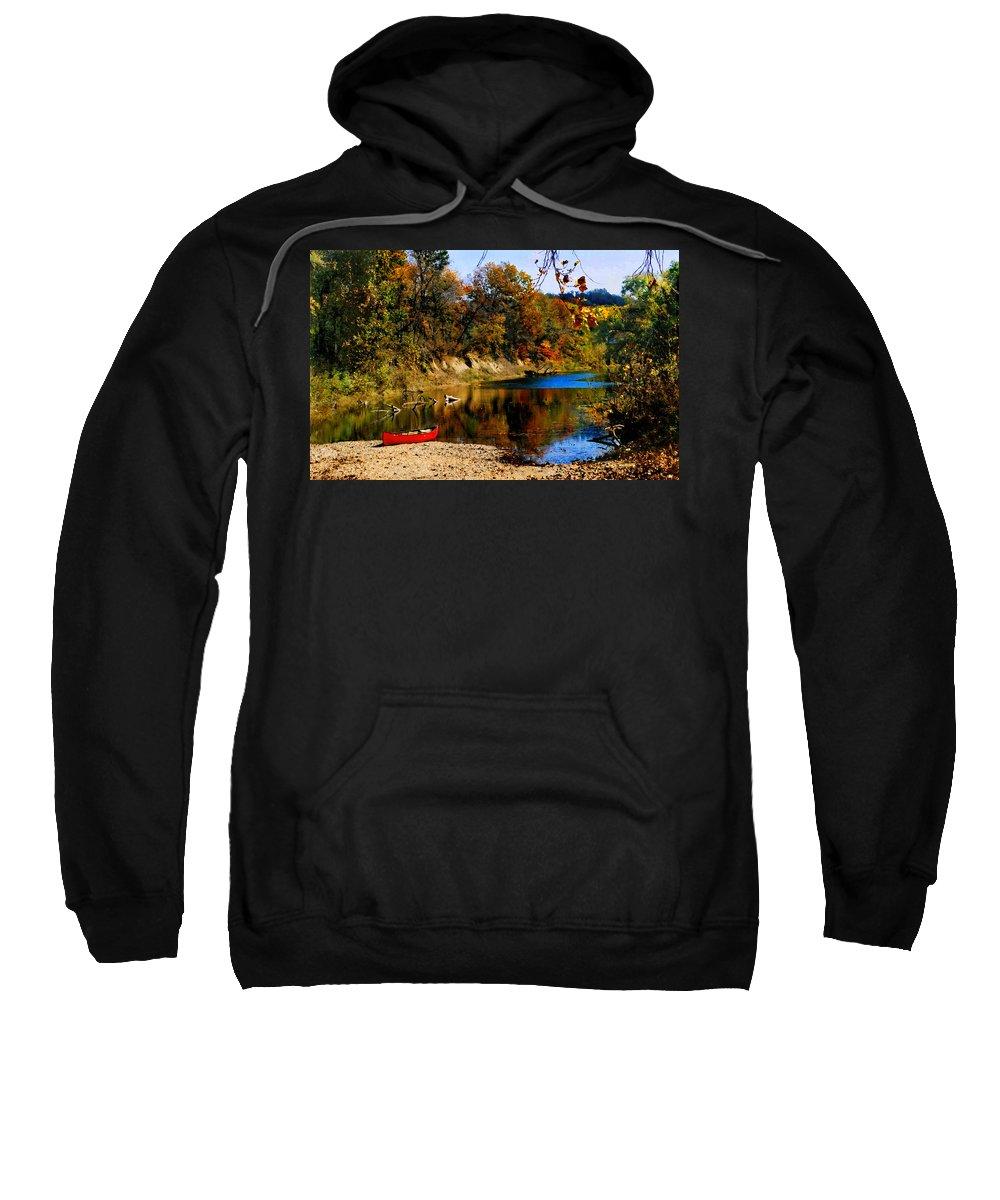 Autumn Sweatshirt featuring the photograph Canoe On The Gasconade River by Steve Karol