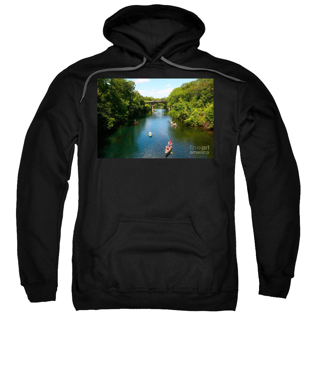 Barton Springs Pool Sweatshirt featuring the photograph Canoeing The Springs by Randy Smith