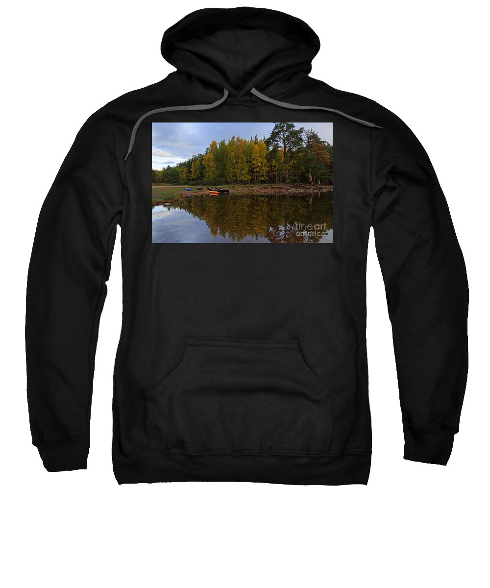 Canoes Sweatshirt featuring the photograph Canoes On The Shore At Loch An Eilein by Louise Heusinkveld