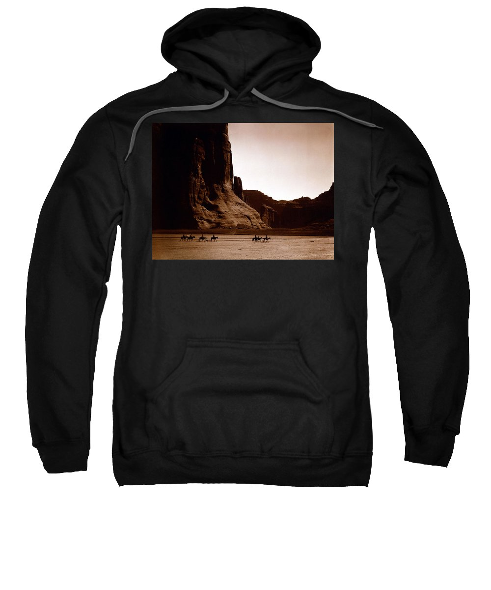 Canyon De Chelly Sweatshirt featuring the digital art Canyon De Chelly by Edward S Curtis