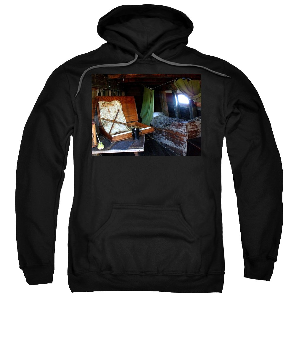 Captain Sweatshirt featuring the photograph Captain's Quarters Aboard The Mayflower by Marilyn Holkham