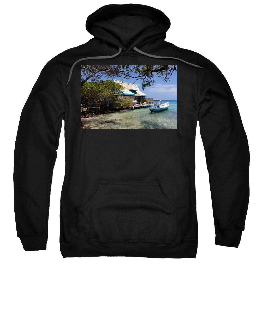 Adrift Sweatshirt featuring the photograph Caribbean House And Boat by Jannis Werner