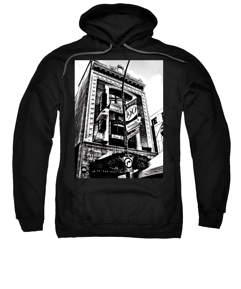Carlos Sweatshirt featuring the photograph Carlos And Pepe's Montreal Mexican Bar Bw by Shawn Dall