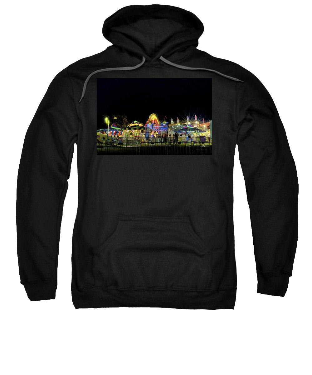 Amusement Sweatshirt featuring the photograph Carnival Life At Night 01 by Thomas Woolworth