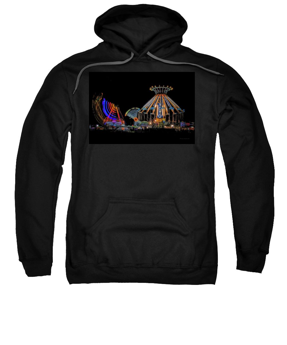 Carnival Sweatshirt featuring the photograph Carnival Rides At Night 04 by Thomas Woolworth